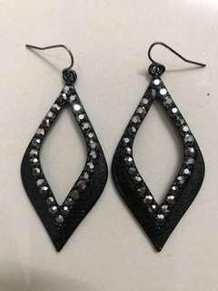 Black Shimmer Studs Glitter earring