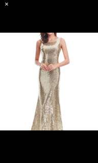 Glittery Gold Sequinned Dress Gown