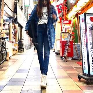 Forever 21 深藍 高腰牛仔褲 超級長腿 👖 25/34/S