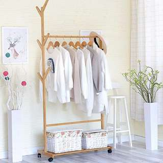 Movable Clothes Rack (Maple)