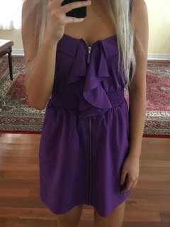 Purple front zip dress