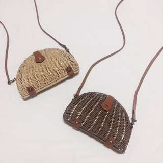 Handwoven Rattan Sling Bag