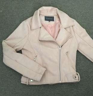 Mirrou Pink Suede biker jacket