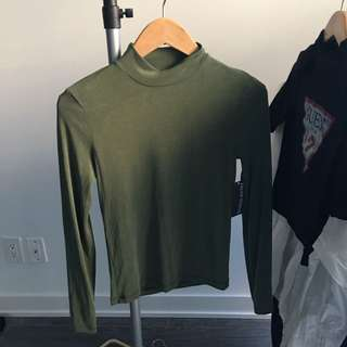 BNWT AMERICAN APPAREL TURTLE/HIGH NECK BRUSHED JERSEY TOP SIZE MEDIUM