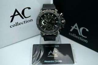 Jam tangan pria Alexandre Christie Collecttion original ac9205 tali full black