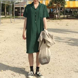 Jade Green Shirt Dress Midi Ulzzang