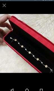 🚚 🍓義大利設計款 金銀雙色花朵閃亮鋯鑽手鍊