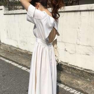 Bare Back White Maxi Dress Ulzzang Casual