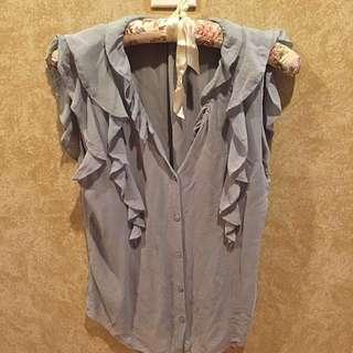 Aritzia 100% Silk T.Babaton Baby Light Blue Button Top S