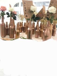 Wedding decor Bottles wines flower