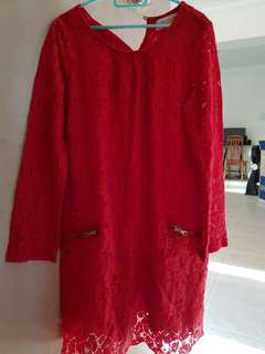 H&M Girls Lace Dress in Red Size EUR122
