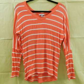 Charlotte Ruse Orange Stripes Long Sleeves Shirt