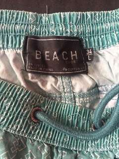 cotton on board shorts light blue green indian print