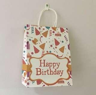 Happy birthday paper bag, birthday goodie bag, goody bag gift bag, door gift bag