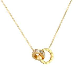 Roman Numeral Circular Pendant With Crystal Rhinestones Necklace (Inspired By Cartier)