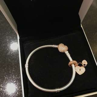 Pandora Rose bracelet with Love Lock Charm