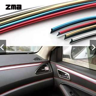 5m Car Interior Decorative Thread Sticker Decal Chrome Trim Strip