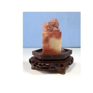 Antique rare hand carved Shoushan stone mythological animal wood stand 8