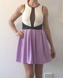 Purple and white party dress