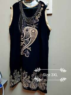 Preloved Plus Size Black Sleeveless Kurti