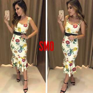 FLORAL BODYCON DRESS WITH BELT