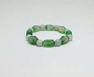 Natural Amazonite & Green Agate Quartz Elastic Bracelet