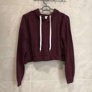 Cropped maroon hoodie