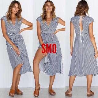 STRIPE DRESS WITH SLIT