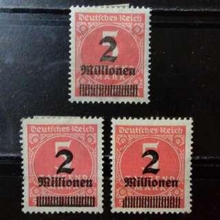 [lapyip1230-錯體加蓋] 德意志帝國 1922年 貳佰萬馬克(正票連兩隻錯票) 新票全份 Mint