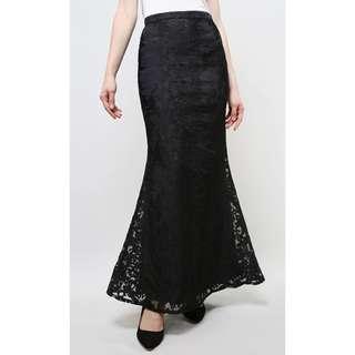 Poplook Premium Organza Skirt In Black