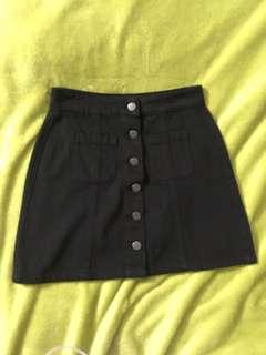 Garage Black Button-Up Skirt