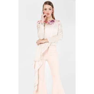 EH x FASHIONVALET Lisa Printed Long Asymmetrical Blouse In Beige