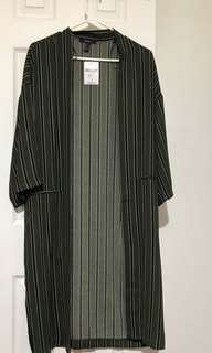 BRAND NEW: Striped Olive Cardigan with Pockets