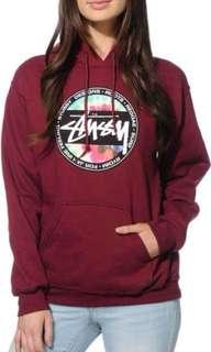 Stüssy maroon hoodie