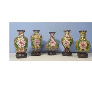 Vintage cloisonne vases full set of 5 hand crafted Beijing Retired stand c. 1960