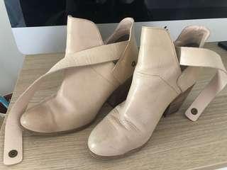 Nude Beige Ankle Boots Heel