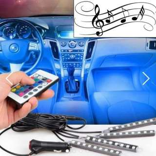 [MUSIC] 9 LED 4 strip interior car decorative light music controlled Easy Install