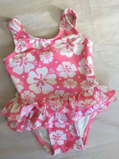 Pink floral kids swimsuit