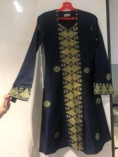 Kebaya Pahang navy blue songket (custom-made)
