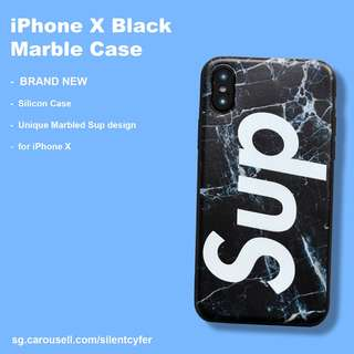 BNIB iPhone X Black Marble Case Silicon Sup