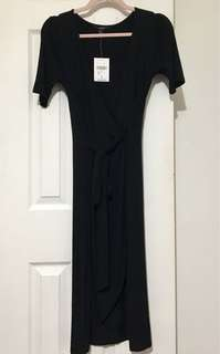 Black Wrap Front Tie Dress