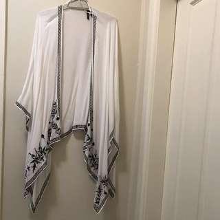 Chiffon blue and white shawl/ scarf/ kimono