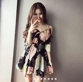 Women casual v neck short sleeve floral pattern mini dress
