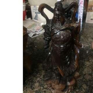 紅豆杉木雕擺件~關公(高40公分/台灣雕工)