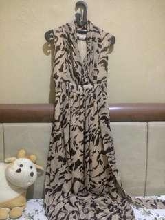 Long Dress Loreng Cokelat
