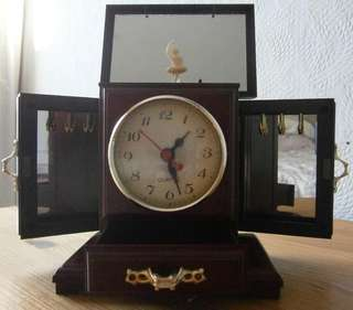 Vintage Musical Jewellery Box With Clock