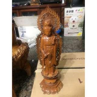 木雕觀音(榆木)手工精雕藝品
