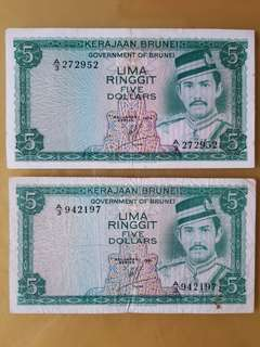 Brunei $5 Ringgit  A/3 -1979 +1981 (2pcs)