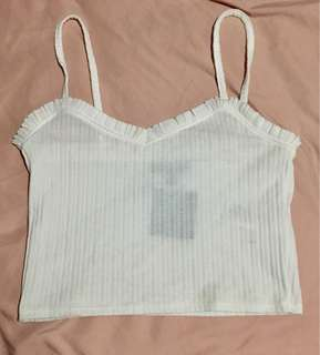 White Cropped Camisole w/ Ruffles