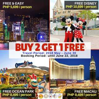 BUY 2 GET 1 FREE : 3D2N Hong Kong Tour Package